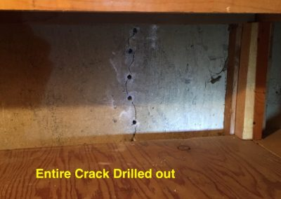 2. INTERNAL FOUNDATION CRACK DRILLED READY FOR REPAIRnew